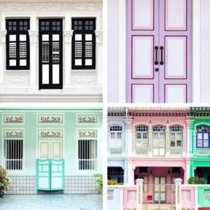 Pink turquoise shophouse