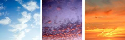 Sky triptych sunset
