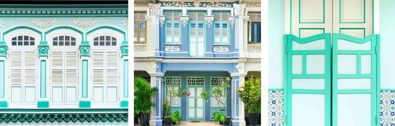 turquoise shophouses